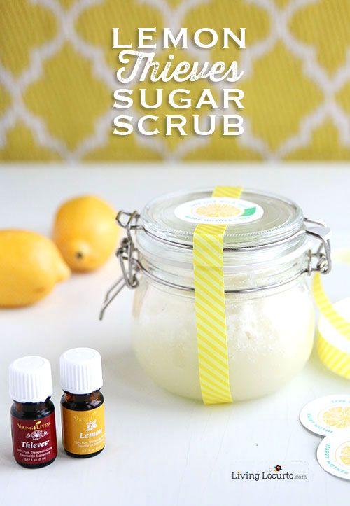 Easy DIY Gift Idea! Homemade Lemon & Thieves Sugar Scrub and Mother's Day Free Printables. Craft idea for Essential Oils. LivingLocurto.com