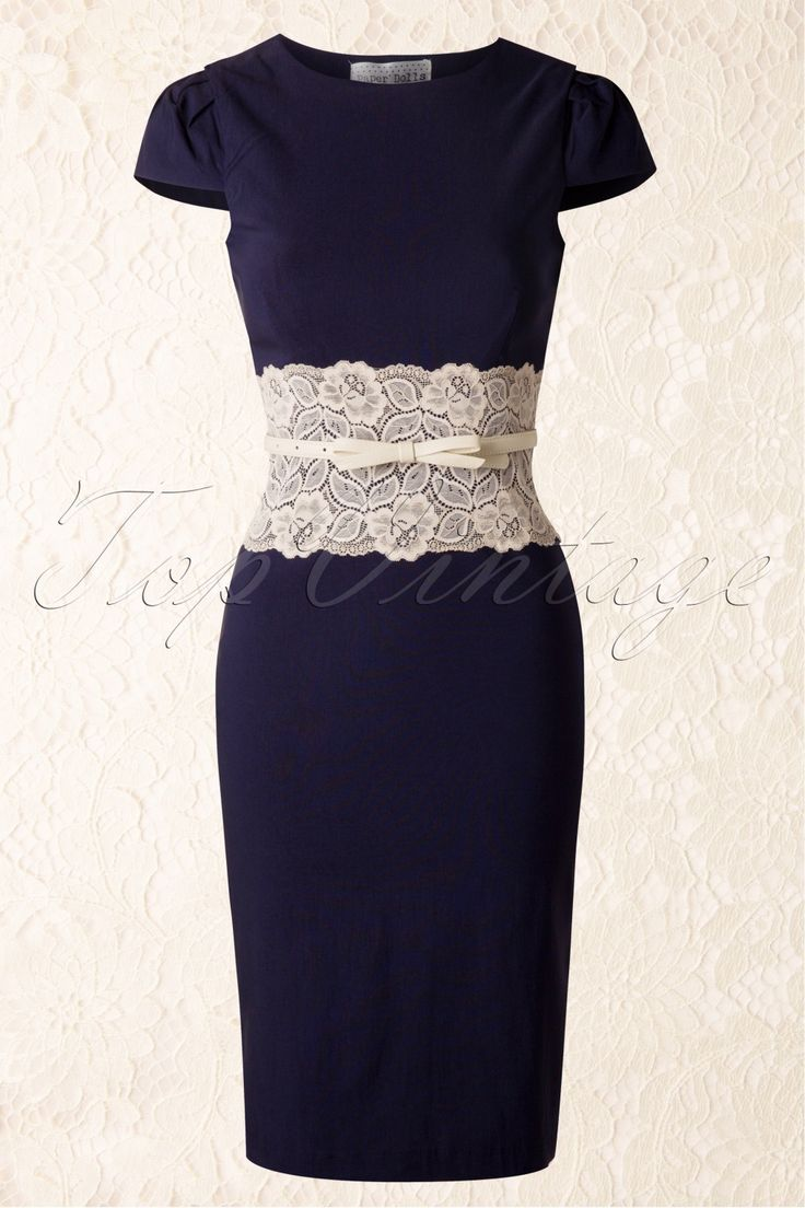 Paper Dolls - Lara Navy Pencil Dress with Cream Lace Panel