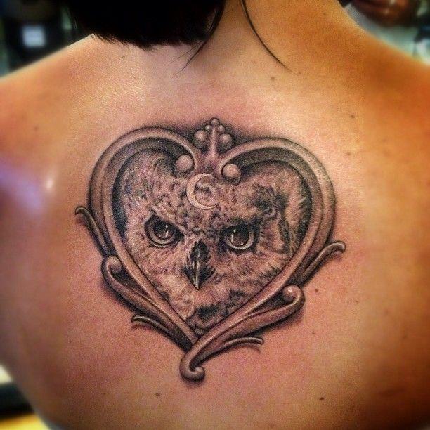 Owl with a heart frame tattoo tattoo ideas pinterest for Owl heart tattoo