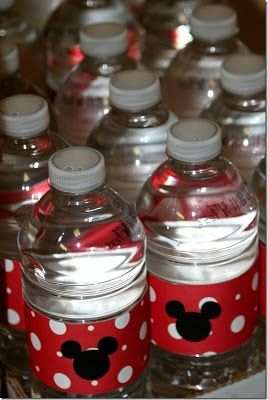 Toddler Birthday Ideas - Minnie/Mickey Mouse Bottled Water
