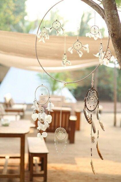 Dreamcatcher decoration in outdoor lounge. La Mangrove Goa. Chic Tipis & River Lounge. Boutique Hotel. South-Goa. India. www.lamangrovegoa.com