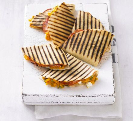 Loving the quesadillas tonight. Delicious!  Sweet potato & chorizo quesadillas recipe - Recipes - BBC Good Food