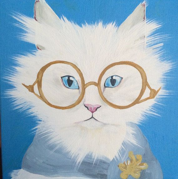 cat painting cute custom animal pet portraits annieeverydayetsycom - Animal Painting For Kids