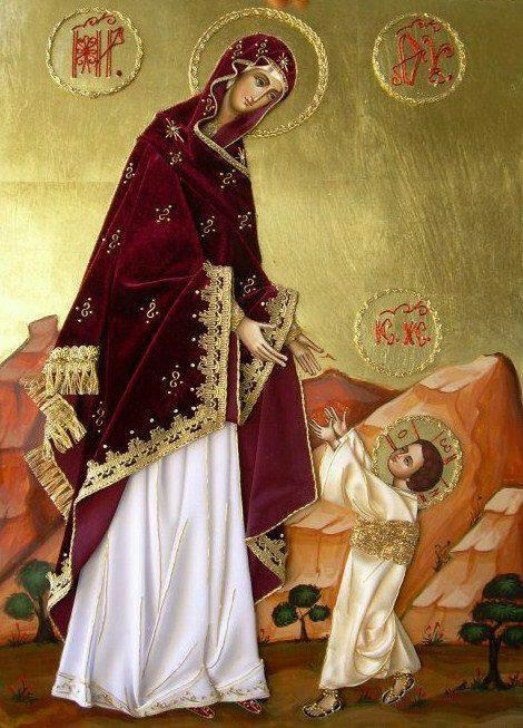 Eastern Orthodox icon with gold leaf and gold embellishments. This icon portrays the Mother of God and Christ taking His first steps.