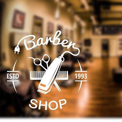 Barber Shop Wall Sticker personalised decal clippers art hair graphic bb2