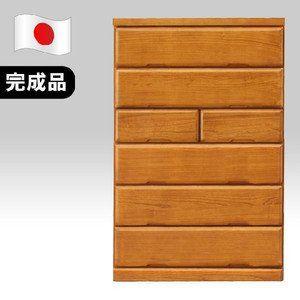ハイチェスト 洋服タンス 完成品 たんす 木製 シック 90cm幅6段 ライトブラウン 国産品 日本製
