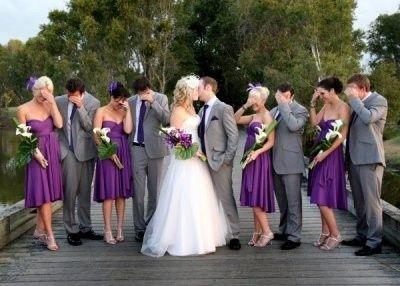 Purple bridesmaid and grey tuxes