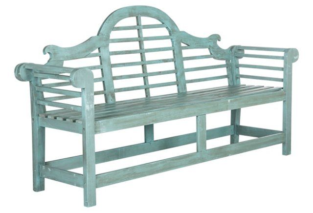 Evie Outdoor Bench $355. Crafted of acacia--a hardwood prized for its durability and moisture-resistance--and fashioned with mortise-and-tendon joint construction, this slatted outdoor bench will last you for seasons to come. Detailed with an intricately carved back splat and a refreshing blue hue.