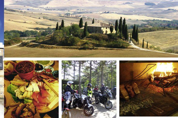 Typisches Motiv der Toscana (oben). Genuss (links + rechts). Motorradtour in Umbrien.
