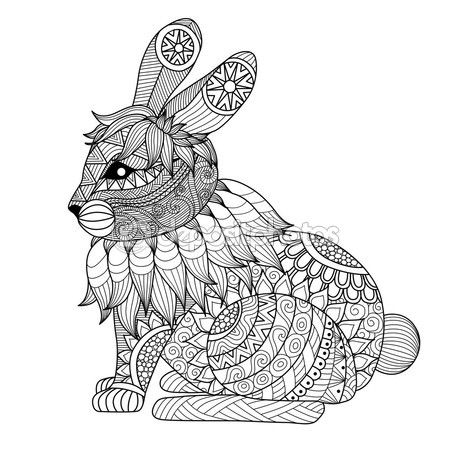 Dibujo conejo zentangle — Vector de stock                              …