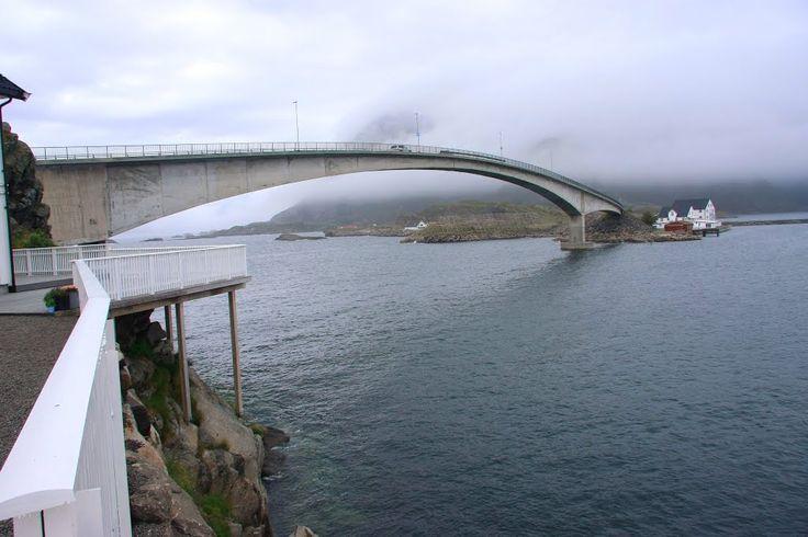 Norway, Vågan. Hanekammen, Henningsvaer bru,