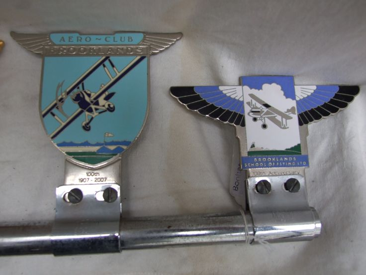 Brooklands Aero Club and Brooklands School of Flying Ltd car badges
