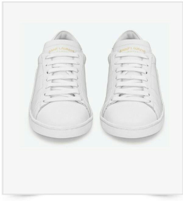 Crème De La Crème Style   SAINT LAURENT White Leather Sl/01 Court Classic  Sneakers