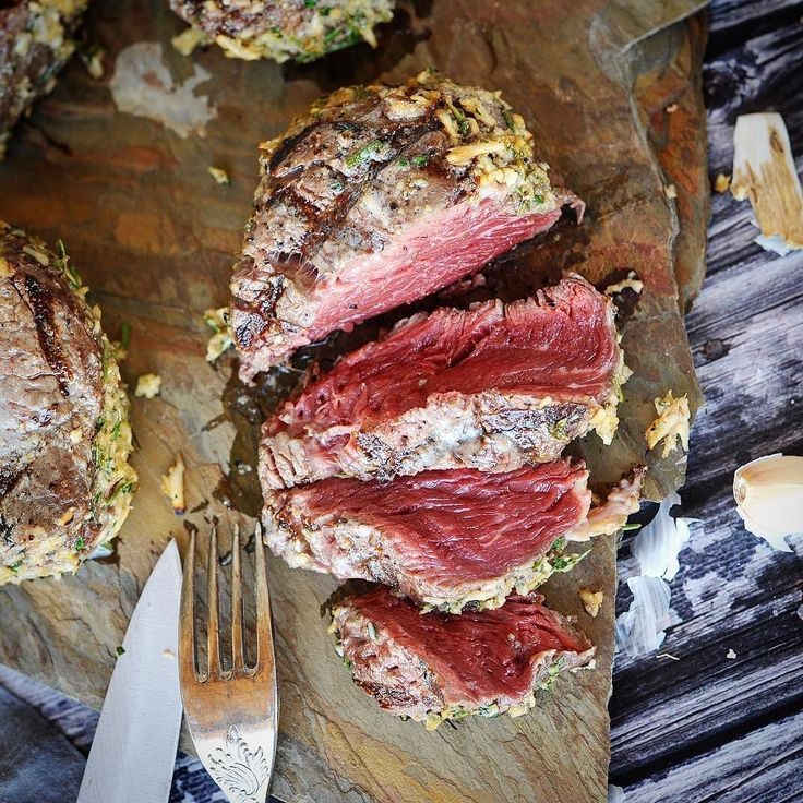 Finally the reveal of my grilled horseradish crusted grass-fed filet steaks.