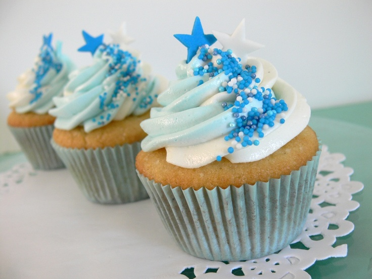 baby boy cupcake sprinkle idea with different topper