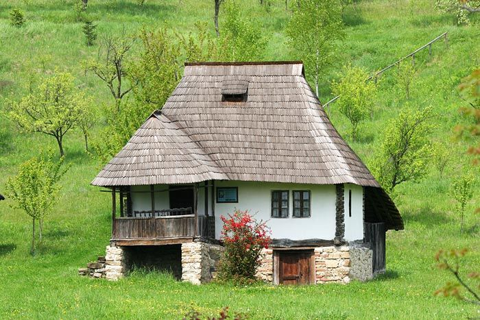 Sample house from Southern Romania with stone walls for foundations. Living space is on the upper level, the lower ground is normally a cellar.