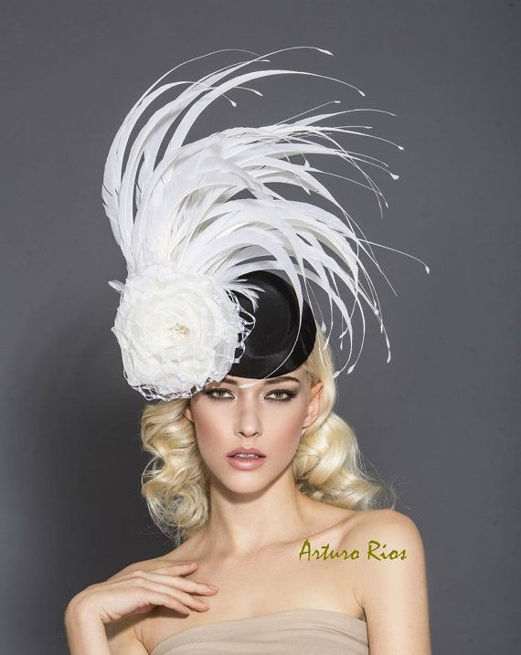 Back and white Fascinator, kentucky derby hat, Black and white pillbox derby hat, Melbourne cup fascinator
