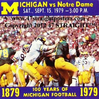 1979 Notre Dame vs. Michigan Football Ticket Coasters™   Michigan football gifts. http://www.michiganfootballgifts.com/ Michigan football gift ideas. #47straight #Christmasgifts #gifts