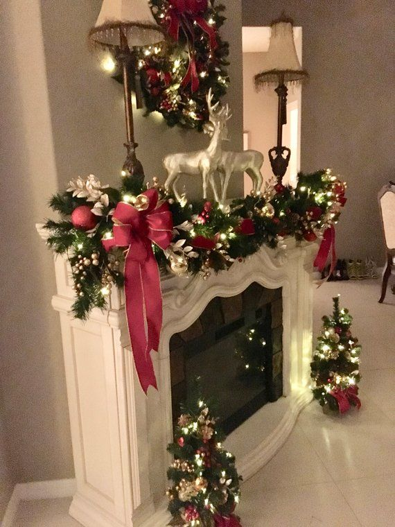 Set of 4pc, Christmas Red Velvet Wreath, Garland and 2 Topiaries