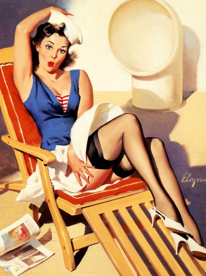25 Glamorous Pin up oil paintings by famous american artist Gil Elvgren. Follow us www.pinterest.com/webneel