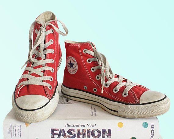 ff8c63d1e6dd 90s Vintage Red Converse High Tops Classic Chucks Grunge God Skater Boy  Girl Sneak Freak Hype Beast