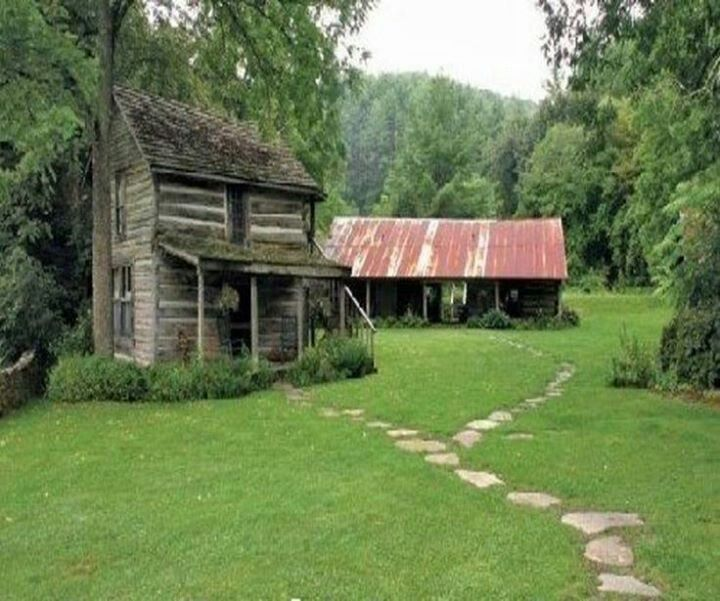 Very old cabin- ill show my husband!! This is perfect to replicate for my painting/crafting shed workshop! Itll be a baby replica of our home!!