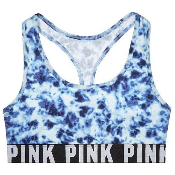 Victoria's Secret PINK Logo Racerback Bra Large Blue Tie Dye (57 CAD) ❤ liked on Polyvore featuring underwear, tops, bras, sports bras and victoria's secret