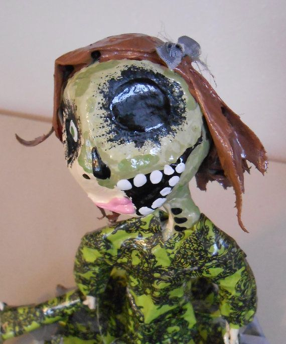 Zombie girl paper Mache art doll/sculpture by seansmonsters, $40.00
