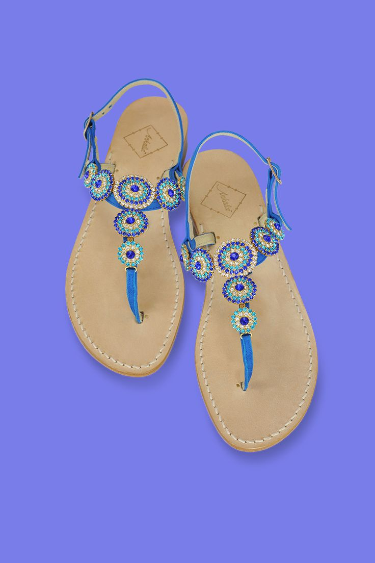 Sienna sandals in blue suede with Swarovski Crystals embellishments. Choose your heel-2cm or flat. Worldwide shipping. #ankaliadesigns #ankalia #siennasandals