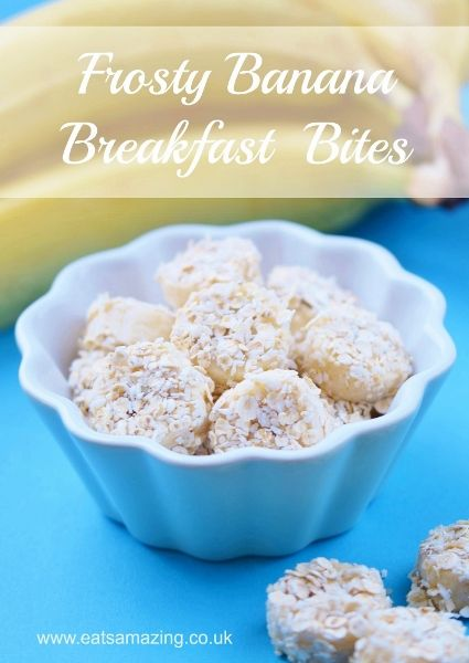 Eats Amazing UK - Frozen Banana Breakfast Bites Recipe - really easy recipe for kids with free printable recipe sheet - healthy breakfast idea