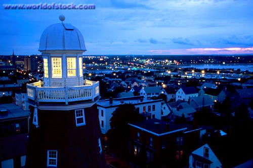 Maine Portland Munjoy Hill Congress Street Portland Observatory Signal Tower City #Skyline Beyond Dusk