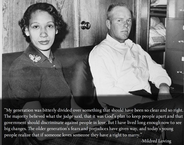 """Loving vs Virginia. """"Government has no business imposing some people's religious beliefs over others. Especially if it denies people's civil rights."""" It's only a matter of time America. - Imgur"""