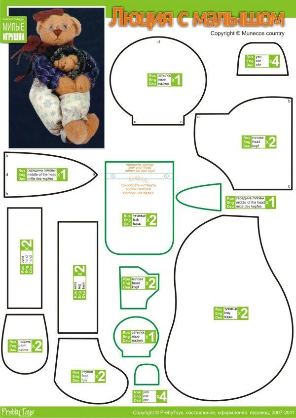 103 besten Teddy Bear Patterns Bilder auf Pinterest | kostenlose ...