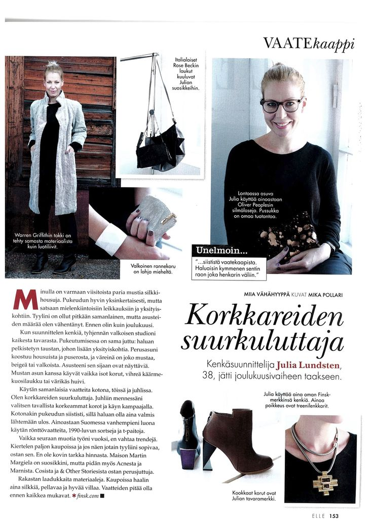 Interview with Julia Lundsten, Designer and Owner of a London-based shoe brand FINSK, at ELLE Finland Magazine - November issue in 2014.   For more details click here: http://www.martavaltovirta.com/portfolio/elle-finland-november-2014-2/