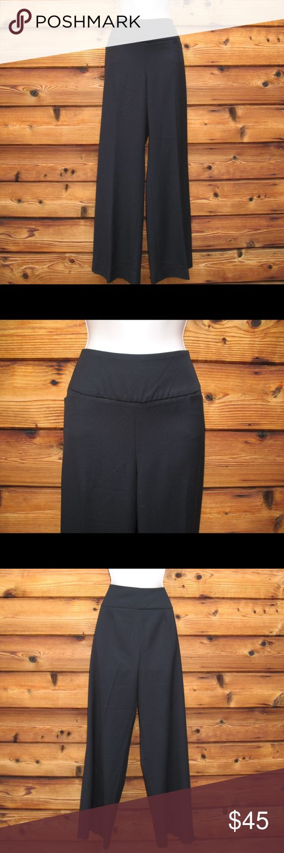 """Vince Camuto Wide Leg Wide Waistband Pants Vince Camuto Wide Leg Wide Waistband Pants  *Very good condition.  Details: Vince Camuto Size: 8 Color: Black Heavy textured fabric 3 inch waistband Side zip closure Two front open pockets Wide leg Polyester/Rayon/Spandex  Measurements: Waist: 32"""" Hips: 42"""" Front Rise: 11"""" Inseam: 32.5 Leg Opening: 24"""" Vince Camuto Pants Wide Leg"""