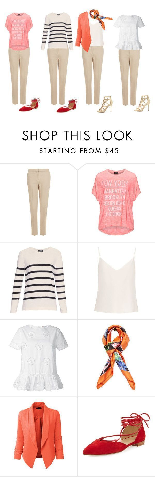 """Summer outfit neutral trousers"" by olga-kim-b ❤ liked on Polyvore featuring Monsoon, Replace, A.P.C., Raey, RED Valentino, Blumarine, LE3NO, Stuart Weitzman and Sergio Rossi #sergiorossioutfit"