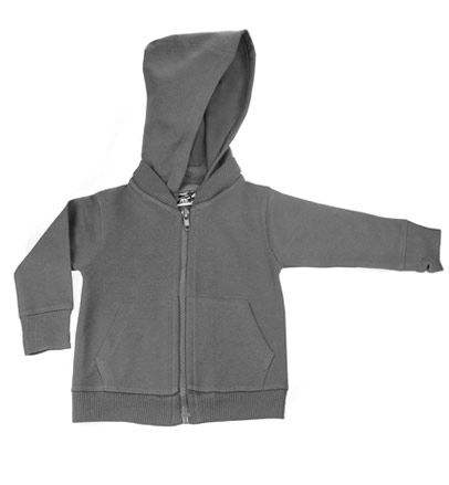 Charcoal Gray Signature Zip Up Hoodie w/ Detachable Hood by My Baby Rocks - gender neutral baby clothes