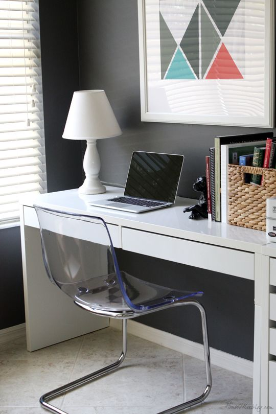 Home office and play area in one — Ikea Micke desks, Tobias chairs, and Benjamin Moore Kendall Charcoal gray walls