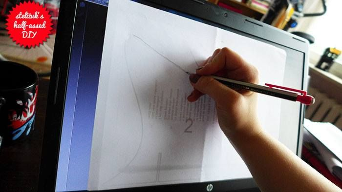 use your monitor as a lightbox to save on printing. (remember to be careful, use a pencil and very little pressure)