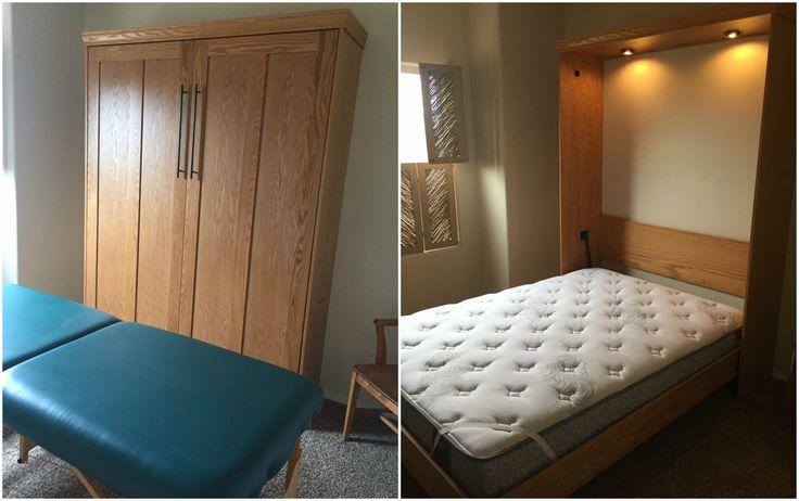 """Our customer from Silver City, New Mexico chose the Bedder Way Queen Contemporary Face Murphy bed in oak stained Golden Oak with 21"""" black contemporary handles."""