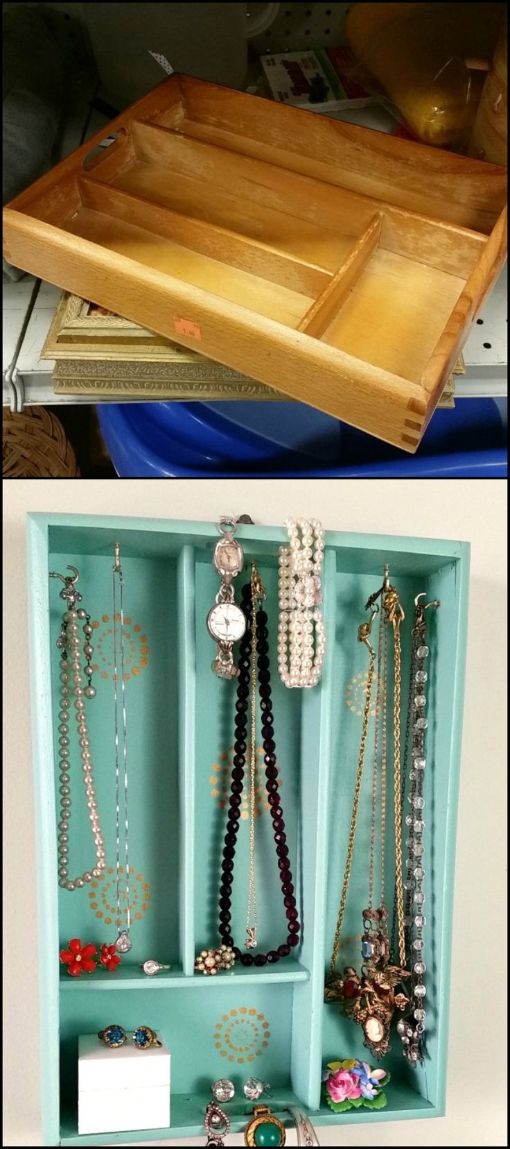 Need to organize your jewelry and accessories? Here's a nice, easy repurposing project for you! Search your favorite local thrift store for an old wooden cutlery or silverware tray as it makes a great jewelry and accessory holder! You'll be amazed at how many pieces of jewelry even a small silverware tray can hold. The little 'shelves' the dividers make can be used for storing small items.