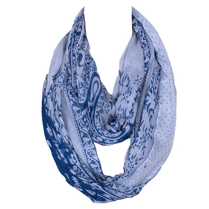 2016 New Retro White and Blue Neck Tube Scarf Womens Accessories/Scarf Foulard Femme Volie Hook Snood Printing Bandana Hot Sale