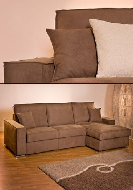DIVANO VENTOTENE CHAISE - Completamente sfoderabile, con apertura del letto mediante ribaltamento della rete. Fornito di serie con materasso a molle