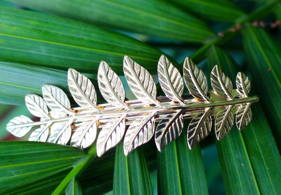 Gold Laurel Leaf Barrette Greek Goddess Leaf Hair by StellaBliss