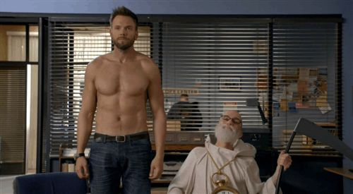 "Joel McHale on ""Community"": Needless to say it happened in Dean Pelton's imagination."
