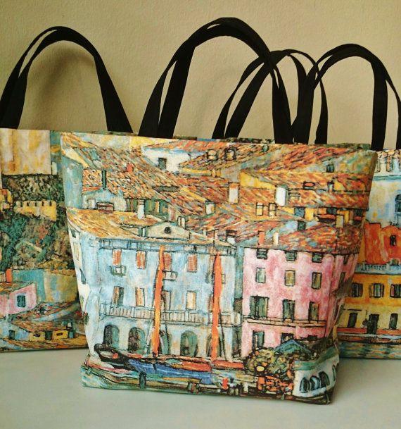 Sac de plage, sac femme couture, cabas motif peinture de Gustav Klimt, sacs à main fabriqué en France, it bag chic et tendance.