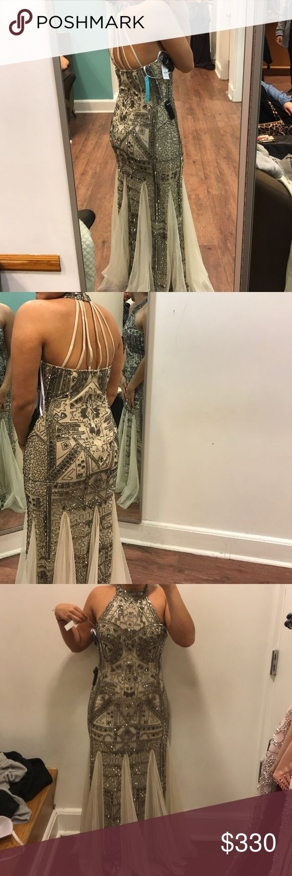 Prom dress This is a brand new prom dress from 2018 with tags and only time worn was in the fitting room. A beautiful champagne color and unique beading. In person the dress is even more beautiful! group usa Dresses Prom