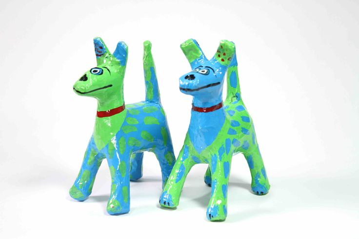 Papier-Mache Spotty Dog (Green/Blue): This handcrafted papier-mache dog was made using recycled newspaper.  Each one is hand painted making them all unique and individual.  It is sure to add colour and happiness to the room.