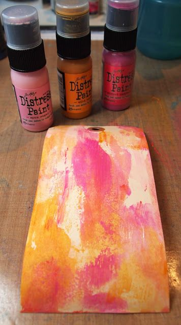 Picture Tutorial by Trace using Distress Paints. For the Simon Says Stamp and Show Challenge COLOR