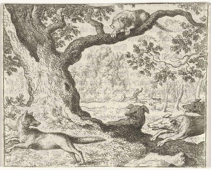 Allaert van Everdingen | Kat in boom, Allaert van Everdingen, 1631 - 1675 | Drie honden jagen op een vos, terwijl een kat vanaf een boomtak toekijkt. Op de achterkant van de prent een Duits tekstfragment uit het verhaal van Reinaert de vos.